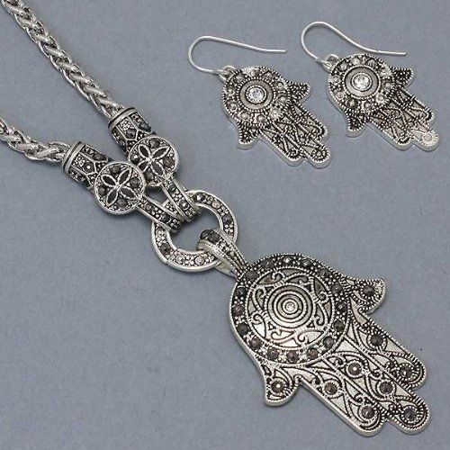 Womens necklace earrings set hamsa hands of god silver womens necklace earrings set hamsa hands of god silver burnished jet aloadofball Image collections