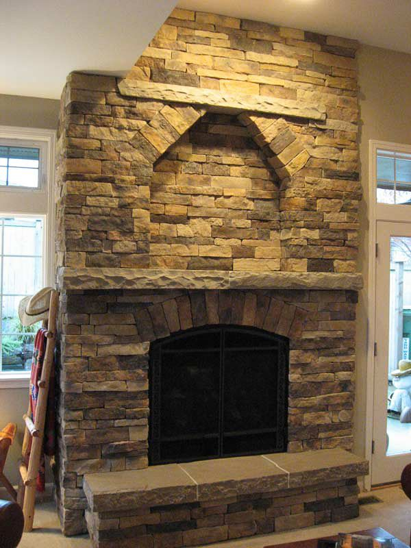 Stone fireplace cultured stone fireplace with sandstone - Rockabilly mantel ...