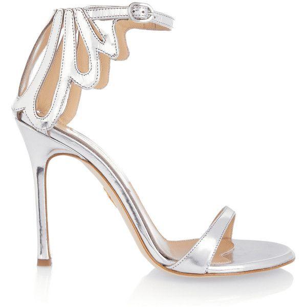 Classic Fashion Chelsea Paris Leather Sandals Silver Asha Cutout Metallic