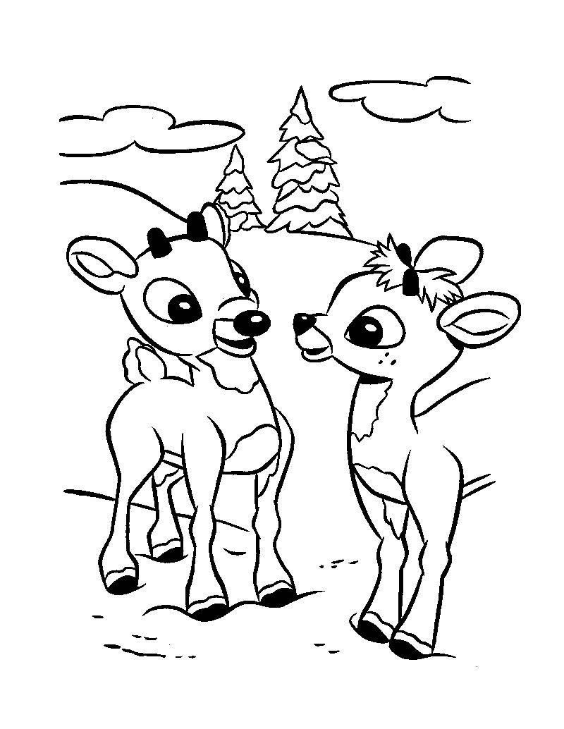 Rudolph And Clarice Color Page Rudolph Coloring Pages Christmas Coloring Sheets Deer Coloring Pages