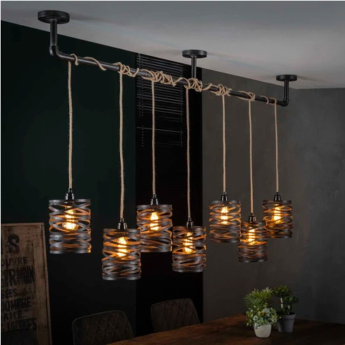 Hanglamp 'Cate' 7 lamps in 2020 Hanglamp, Industriële