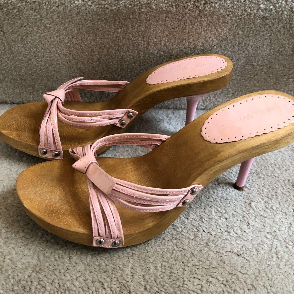 5e917105e42 Nine West Shoes | Nine West Pink Patten Leather Slides Mules Heels 8 ...