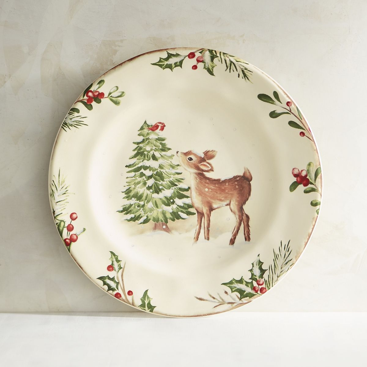 Winter\u0027s Wonder Deer Salad Plate | Pier 1 Imports & Winter\u0027s Wonder Deer Salad Plate | Pier 1 Imports | Happy Holidays ...