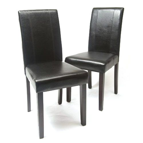 Solid Wood Leatherette Padded Parson Chair Black, Set of 2 $89.99 #Furniture