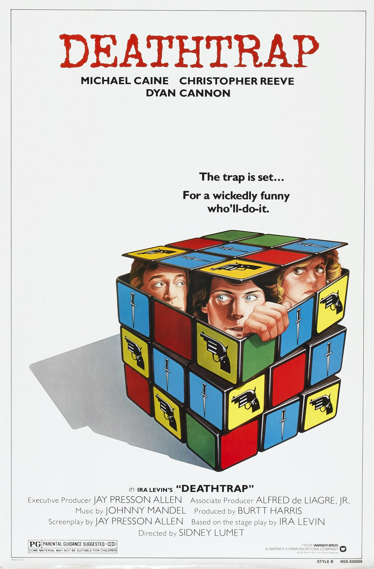 Original release one-sheet movie poster for the movie Deathtrap (1982) directed by Sidney Lumet