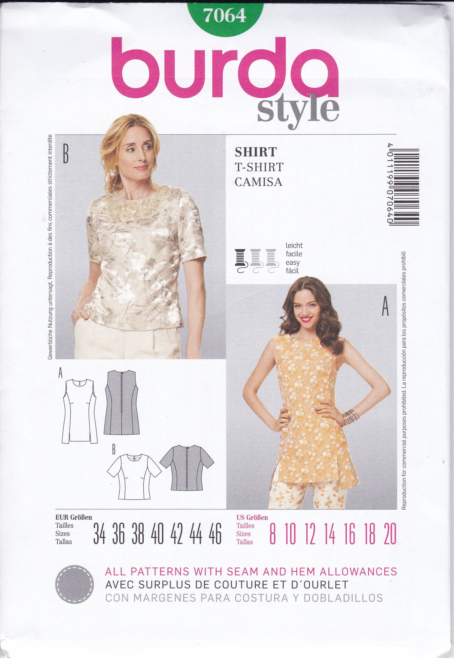 FREE US SHIP Burda 7064 Sewing Pattern Blouse Shirt Princess Seams ...