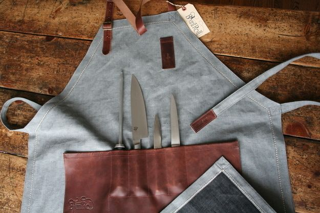 14 Gorgeous Ways To Carry Around Your Kitchen Tools  The apron that doubles  as a knife roll. 9ca2c8a622c98