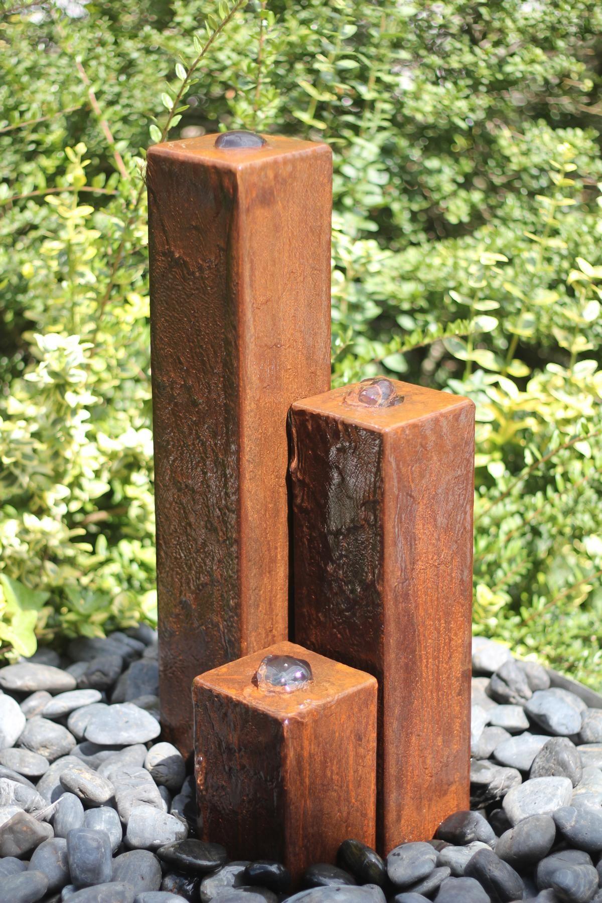 Wasserspiel SET: Cortenstahl 3er Säulen 20/40/60 Inkl. Pumpe Becken  Springbrunnen 100400011