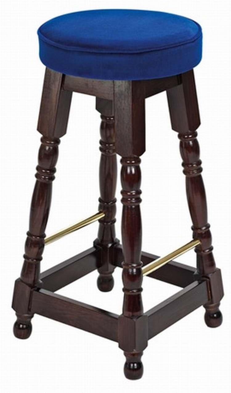 Tall Dark Oak Brass Rail Stool Piped Top (BS/1UD) | Round ...