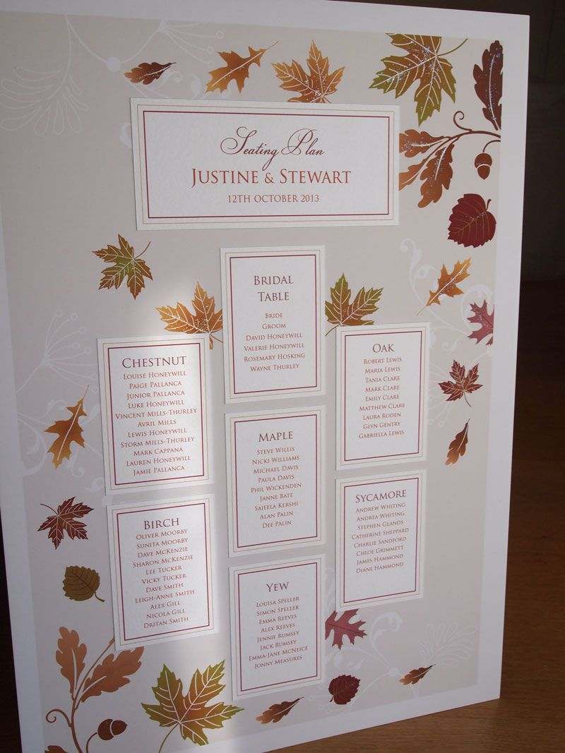 Autumn Wedding Seating Plan - A2 size maybe change to the flower ...