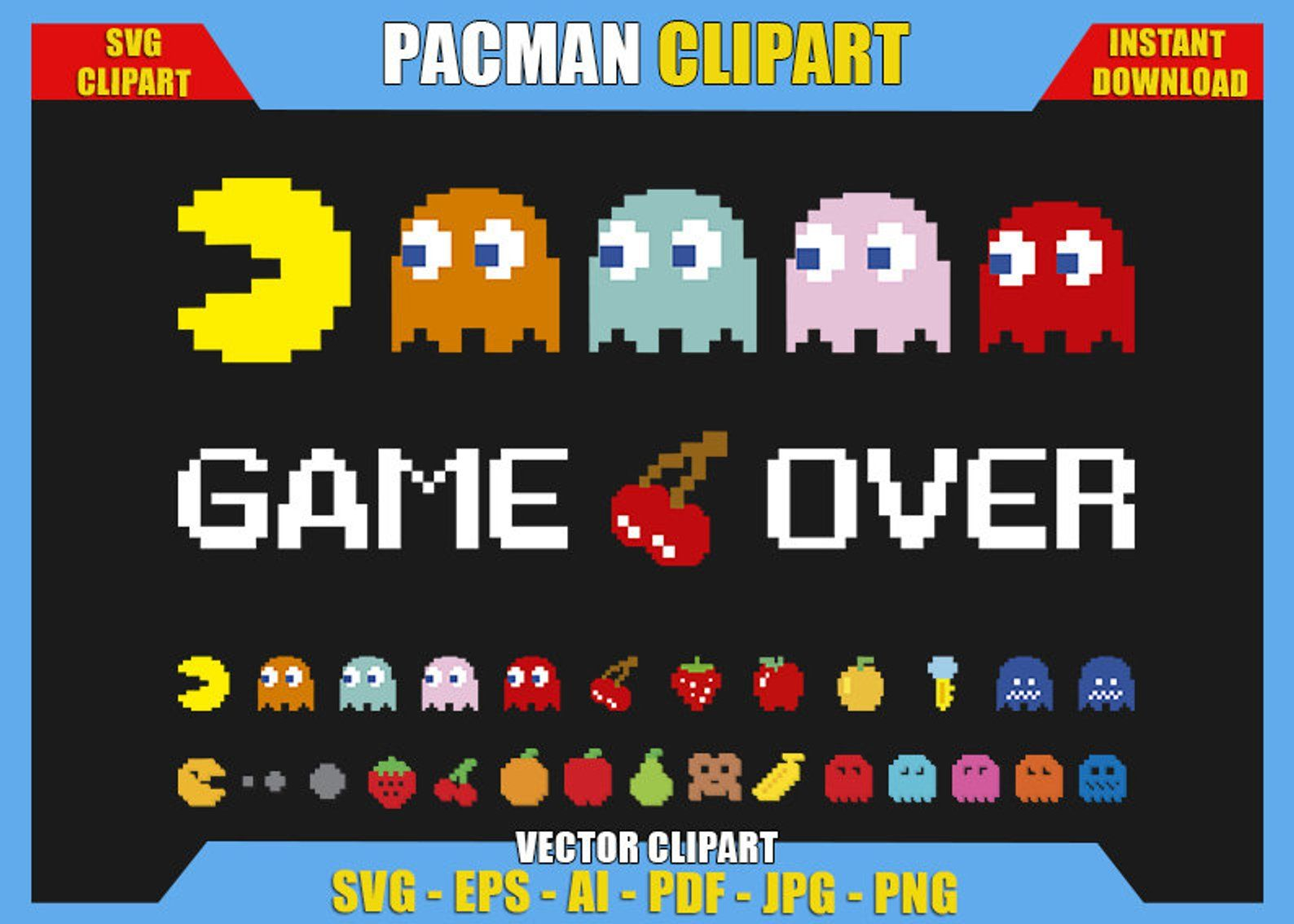 Pacman Clipart Svg Dxf Png Digital Logo Silhouette Cricut Etsy Clip Art Logo Silhouette Pacman
