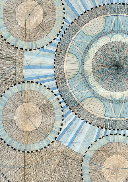 Detail of a large drawing. Series : God is a Circle. By Lore Vanelslande