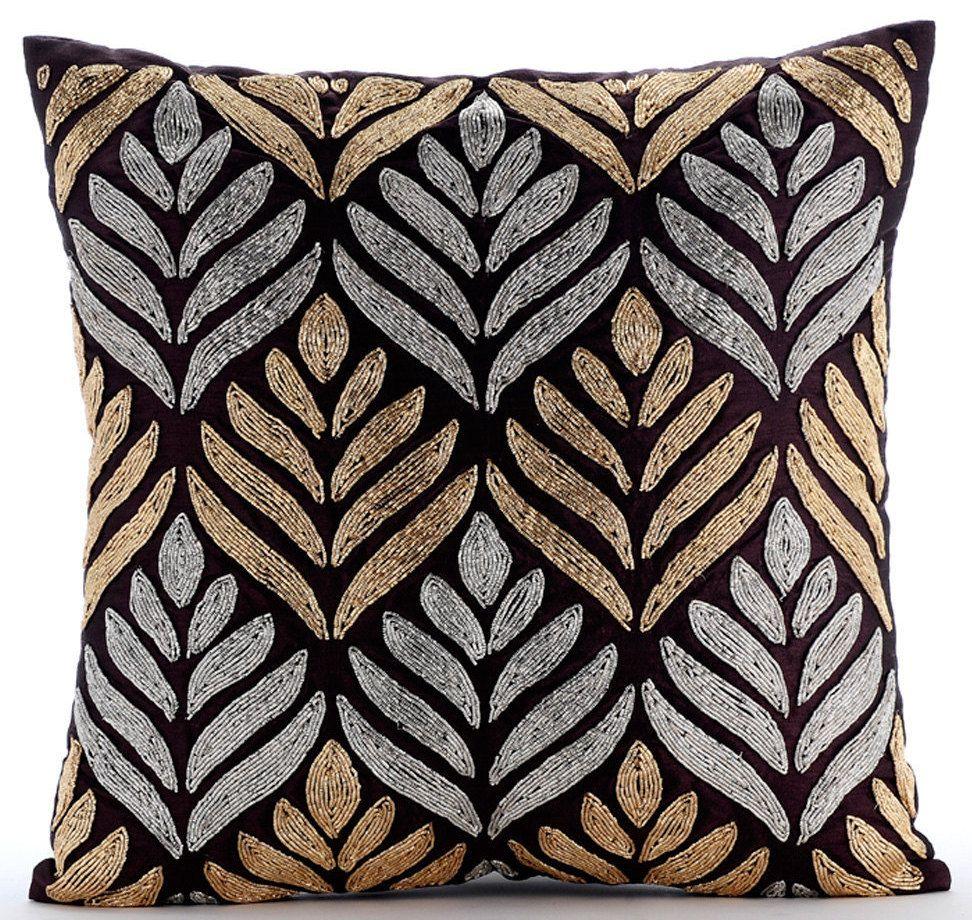 Designer Plum Pillows Cover, Gold Studs