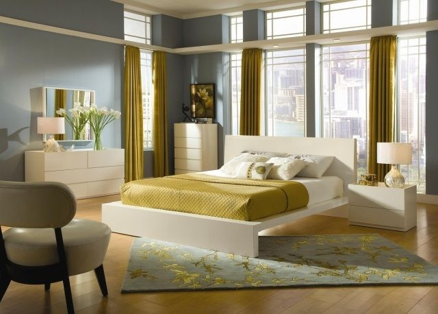 schlafzimmer vorhänge ocker olivengrün weiße moderne möbel ...