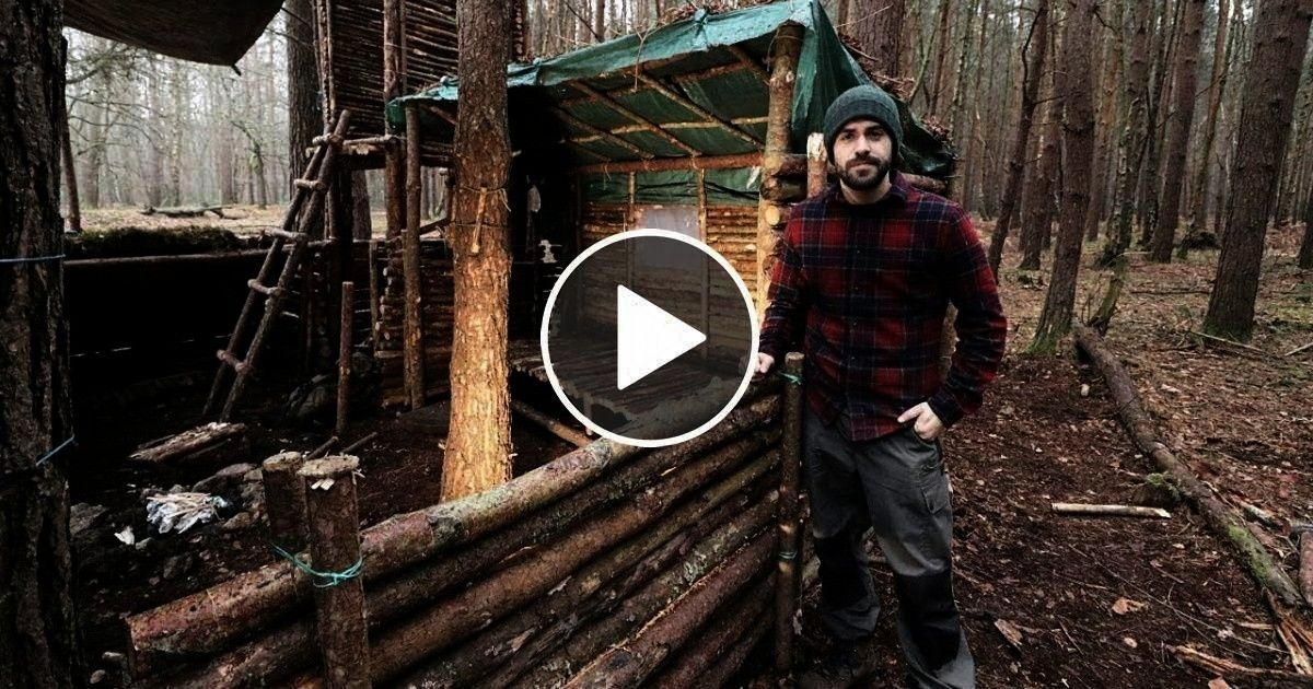 Full Super Shelter Build from Start to Finish. - VIRAL CHOP VIDE... - rickie french 363 -Bushcraft