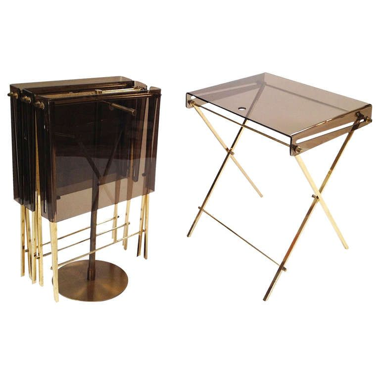 Set 4 Charles Hollis Jones Brass And Smoked Lucite Folding Tray Serving Tables Tray Table Furniture Side Tables Vintage Trays