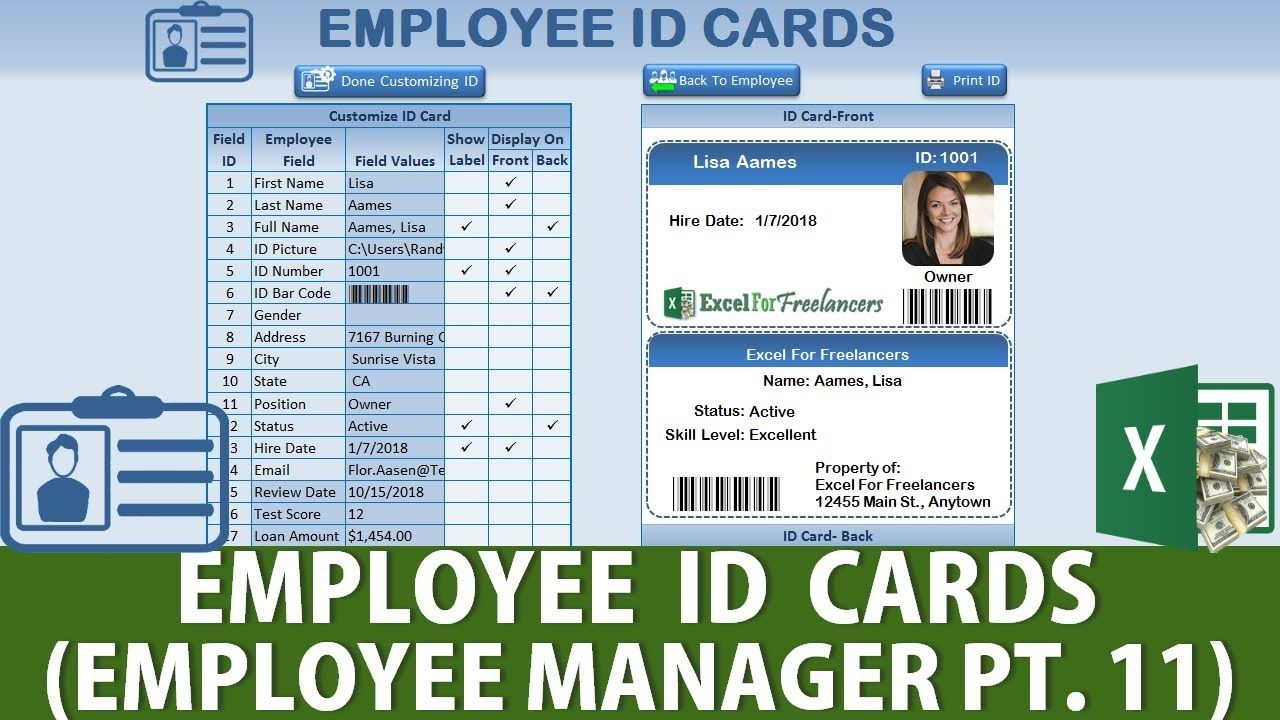 How To Create An Id Card With Bar Codes In Excel Employee Manager Pt 11 Excel Tutorials Excel Shortcuts Excel Electronic spreadsheet package decision