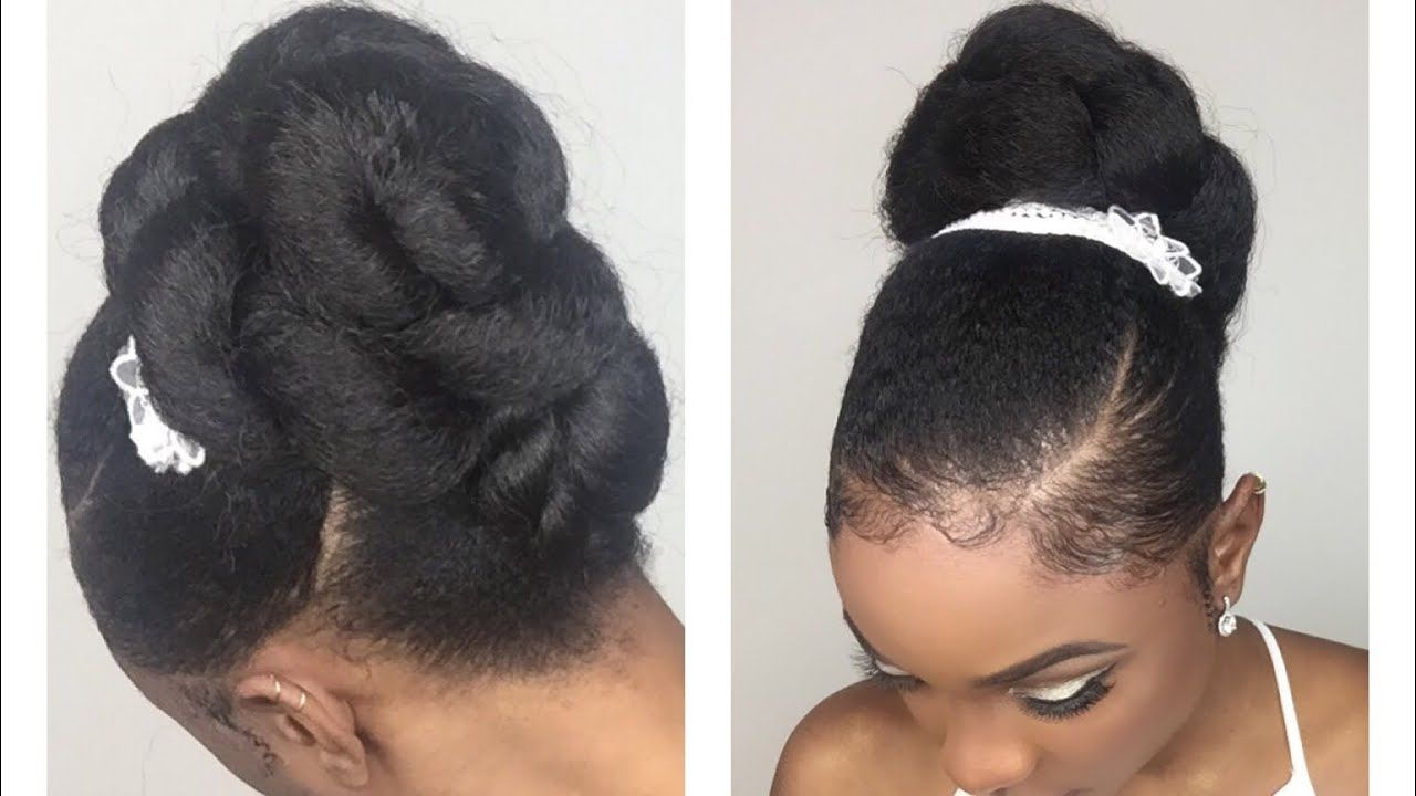 Quick Easy Bridal Updo Wedding Hairstyle For Black Women Natural Hair Styles For Black Women Simple Wedding Hairstyles Hair Styles