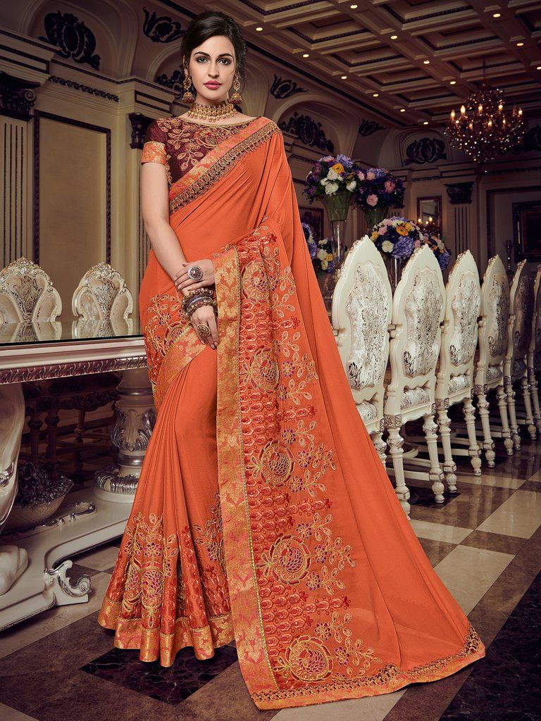 0426e9a772 Orange Embroidered Georgette Saree & Unstitched Blouse #party #wear #sari # saree #embroidered #blouse #traditional #indian #bollywood #ethnic #womans  ...