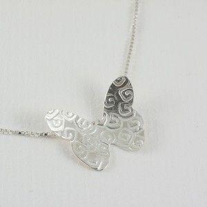 Collar Mariposa Espirales con cadena de plata