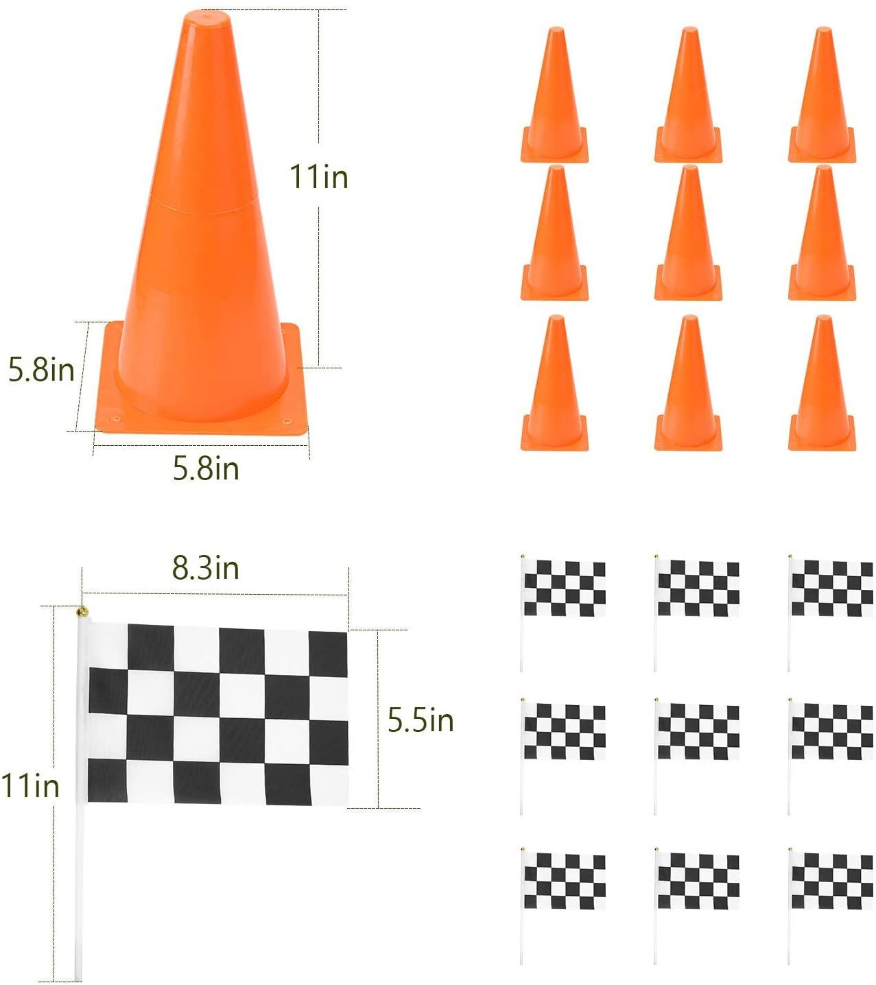 Pacearth 11 Inch Plastic Traffic Cones With Chequered Flags 10 Pack In 2020 Train Activities Checkered 10 Things