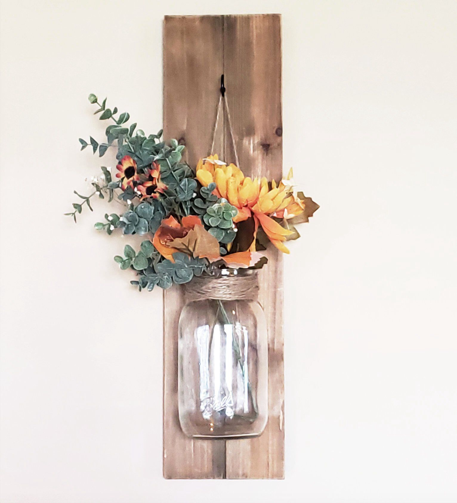 Hanging Mason Jar Decorative Wall Hanging Flower Vase Candle Holder By Aptsweetapt On Etsy Https Ww Candle Wall Decor Wall Flower Vases Hanging Wall Vase