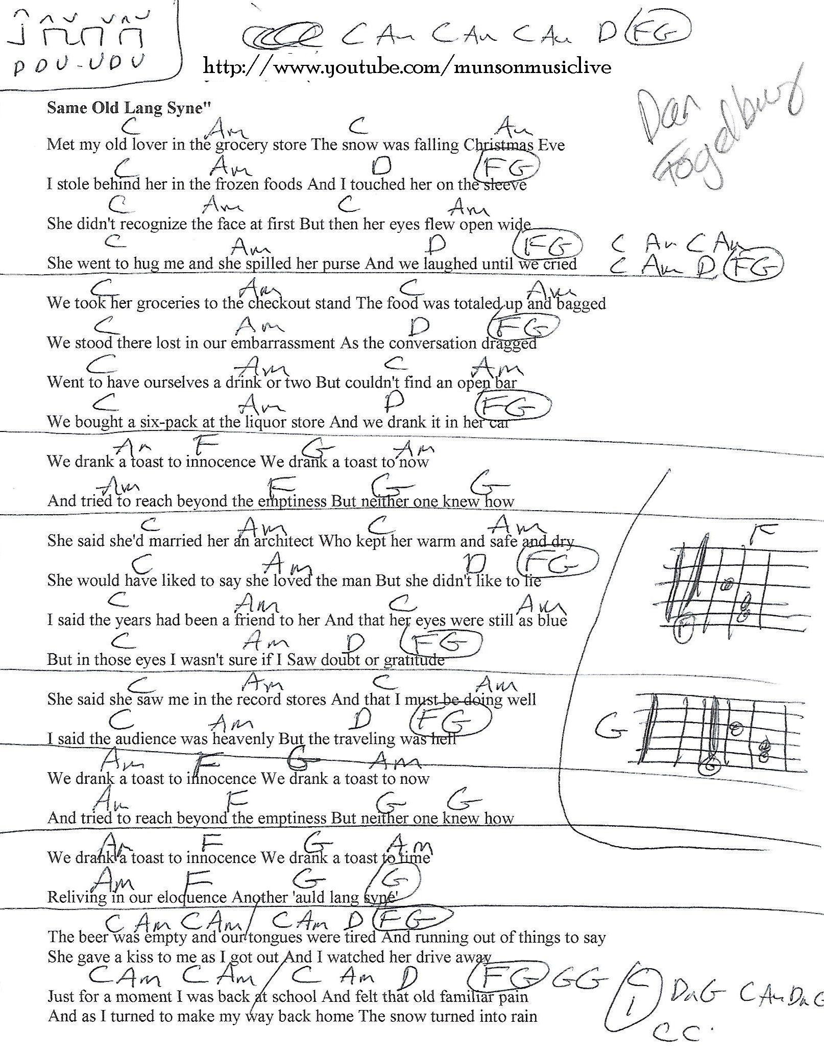 Same Old Lang Syne Dan Fogelberg Guitar Chord Chart Guitar