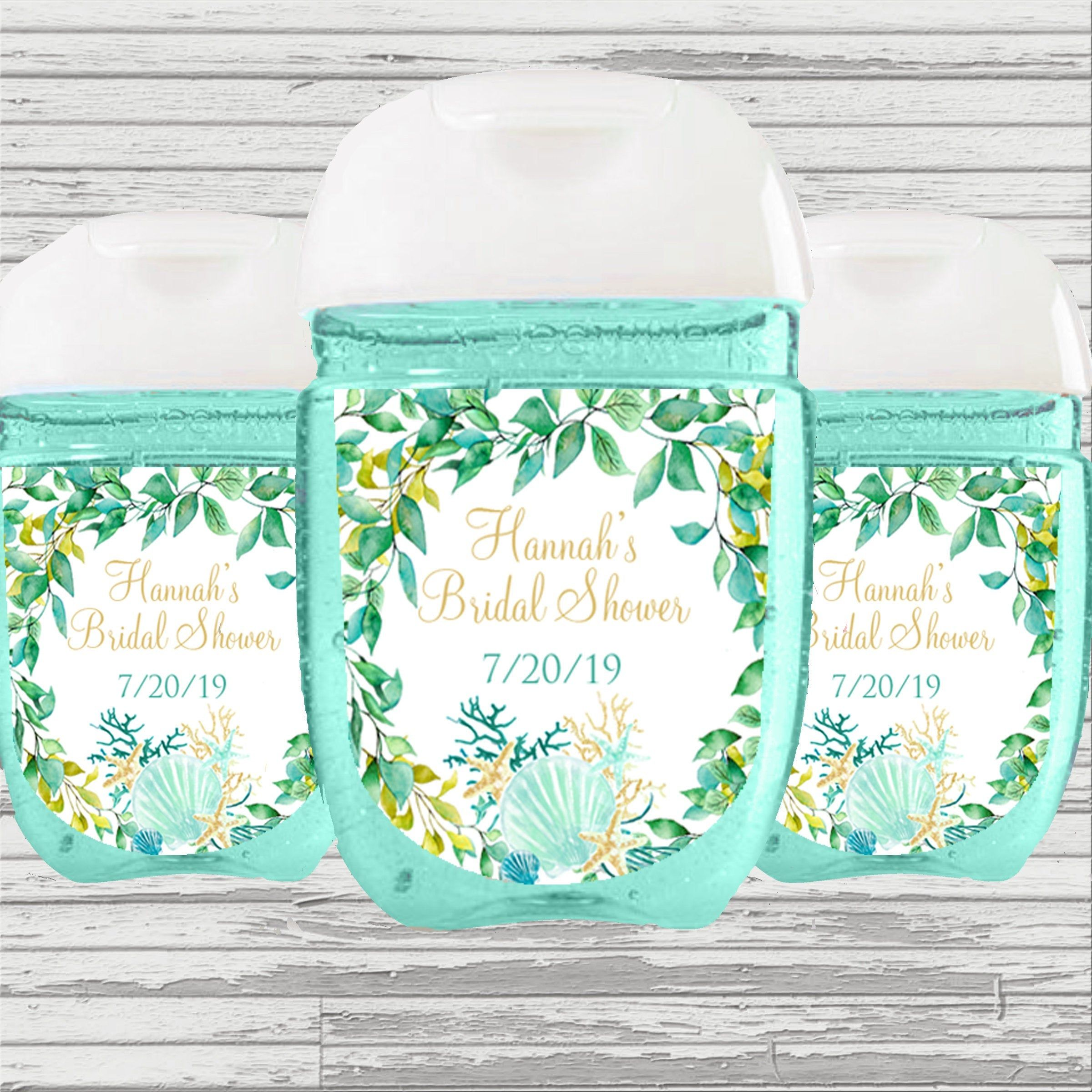 Beach Flower Theme Bridal Baby Shower Favor Sanitizer Label