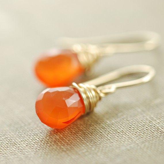 Chalcedony Gemstone Wire Wrapped Earrings Orange Carnelian Orange and White Earrings Orange Gemstone Sterling Silver Earrings