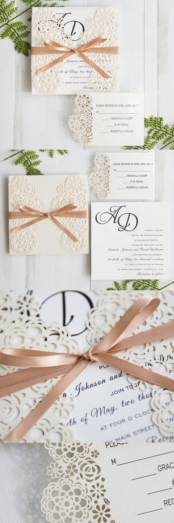 modern floral laser cut wedding invitations with champagne band ...