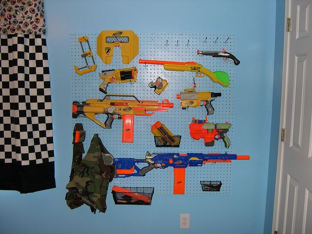 The Nerf gun rack. Made of pegboard and some 1x2's.