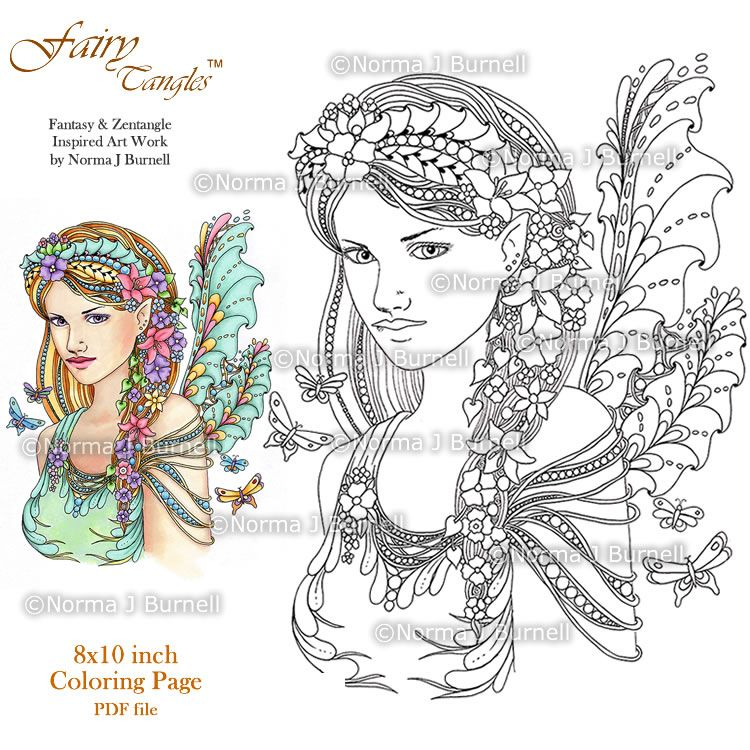 dragon and fairy coloring pages for adults fairy tangles a few new fairy tangles - Fairy Coloring Books For Adults