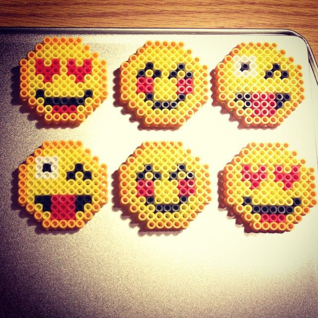 Emoji Magnets Perler Beads By Ashleyw2014 Perler Bead Art