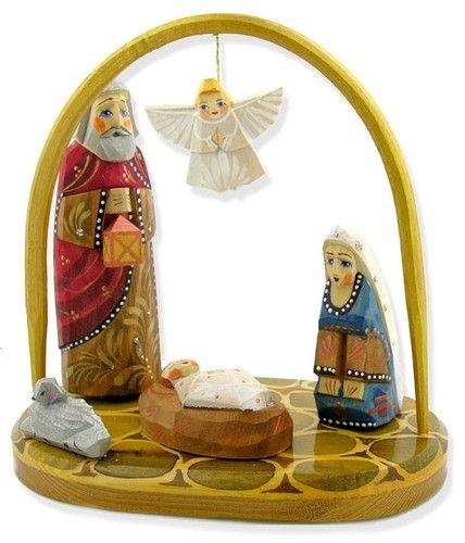 Wooden Russian Nativity Scene Set St Mary Joseph Jesus