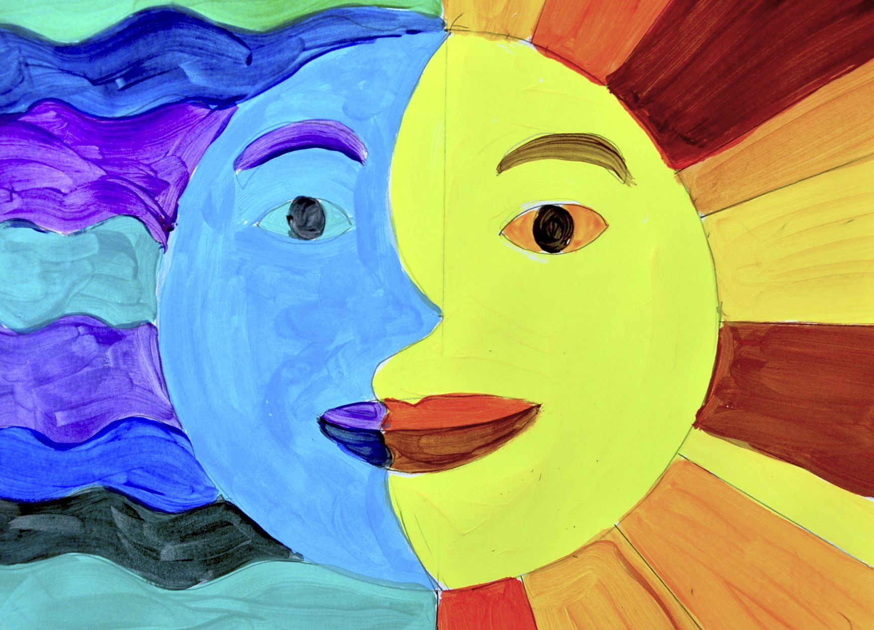 Art Ideas Warm Sun And Moon In Warm And Cool