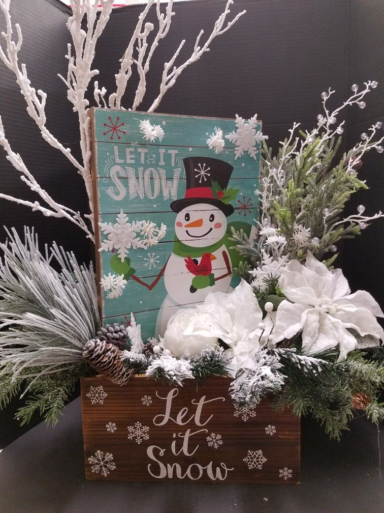Let Is Snow Centerpiece For Your Home And Office Display Designed By Mary Bui For Michael Christmas Arrangements Christmas Centerpieces Christmas Decorations