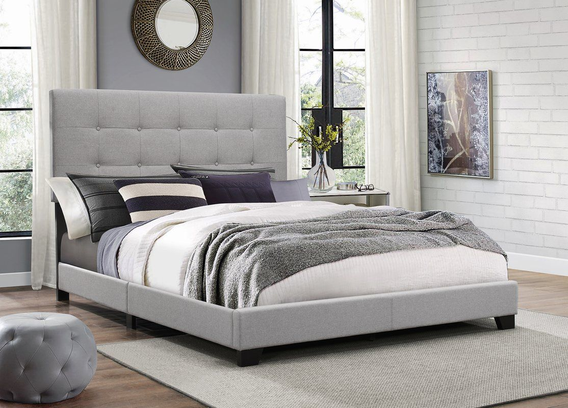Janicki Upholstered Panel Bed With Images Grey Upholstered Bed