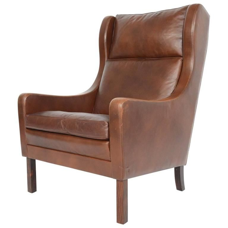 Mogensen Style High Back Leather Lounge Chair Chair Leather Lounge Chair Modern Wingback Chairs