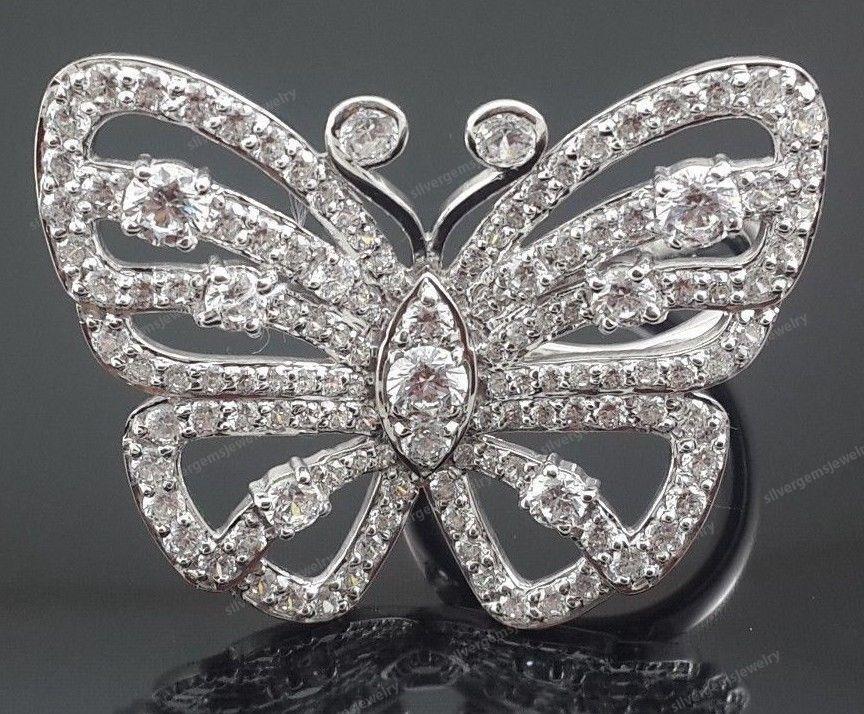 10k White Gold Diamond Mariah Carey Inspired Butterfly