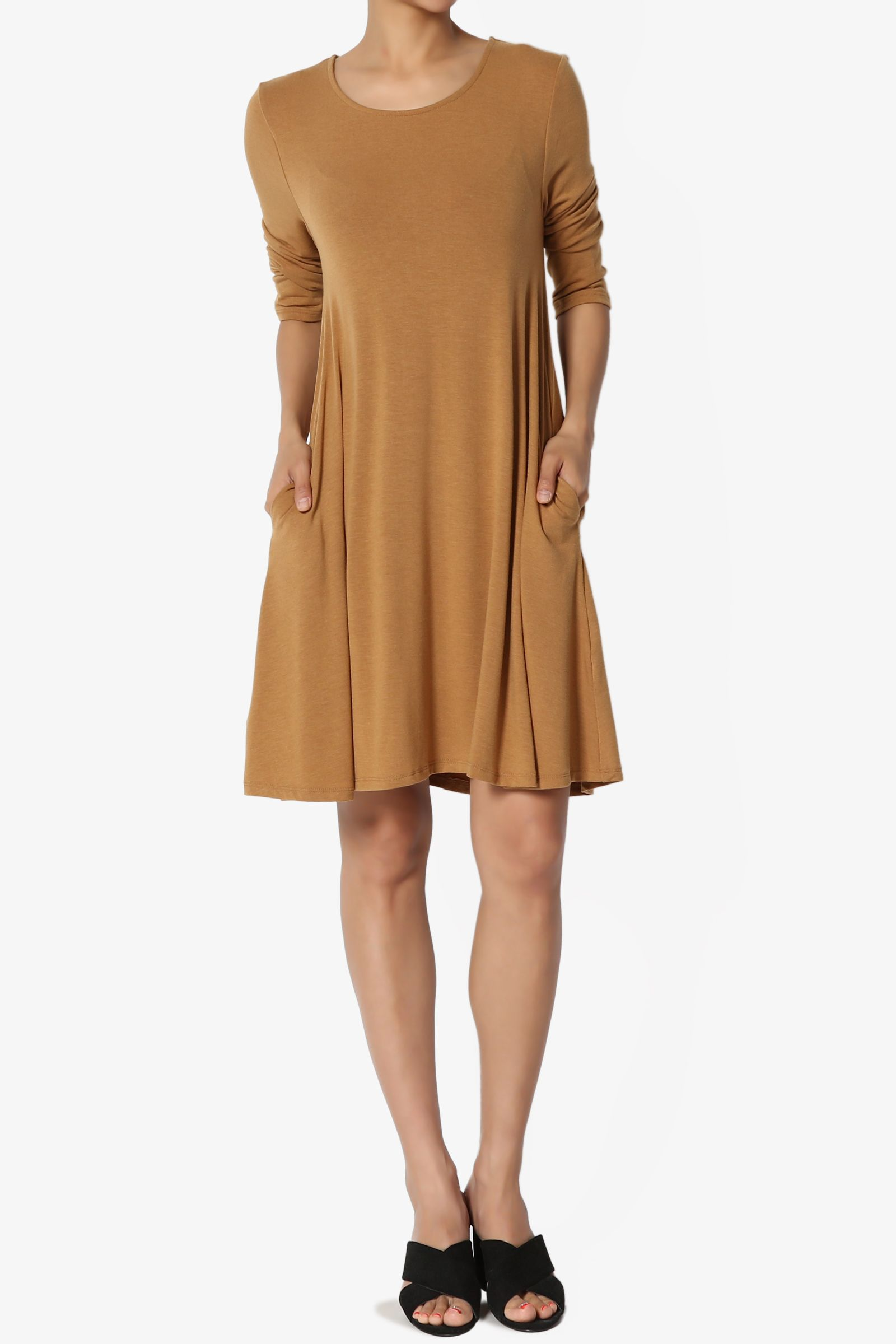 f864a0c94fe TheMogan Women s S~3XL Basic 3 4 Sleeve Swing Flared Tunic Dress Pocket  Long Top Basic