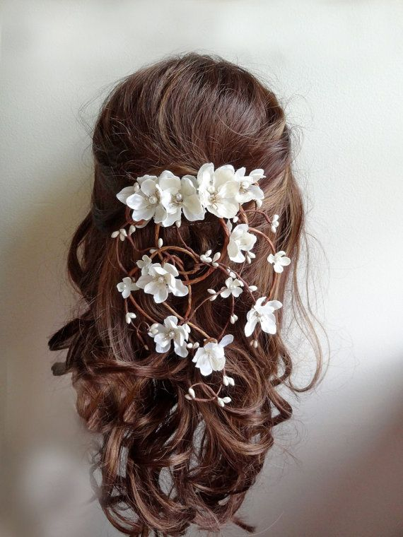 Bridal Hair Vine Wedding Hairpiece Clip Ivory Flower Woodland Rustic Accessories Garland Headpiece