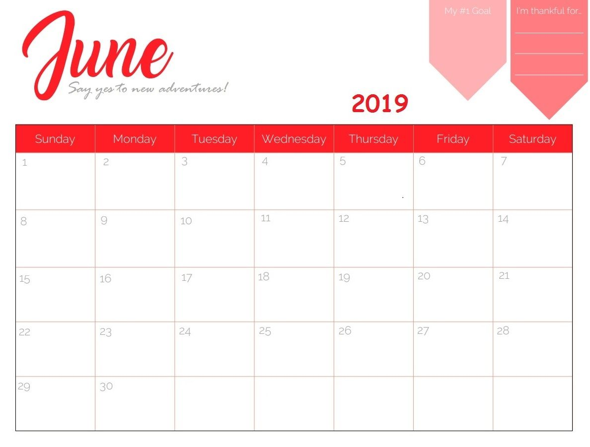 graphic relating to Free Printable June Calendar titled Cost-free Printable June 2019 Calendar Calendar 2018 inside of 2019