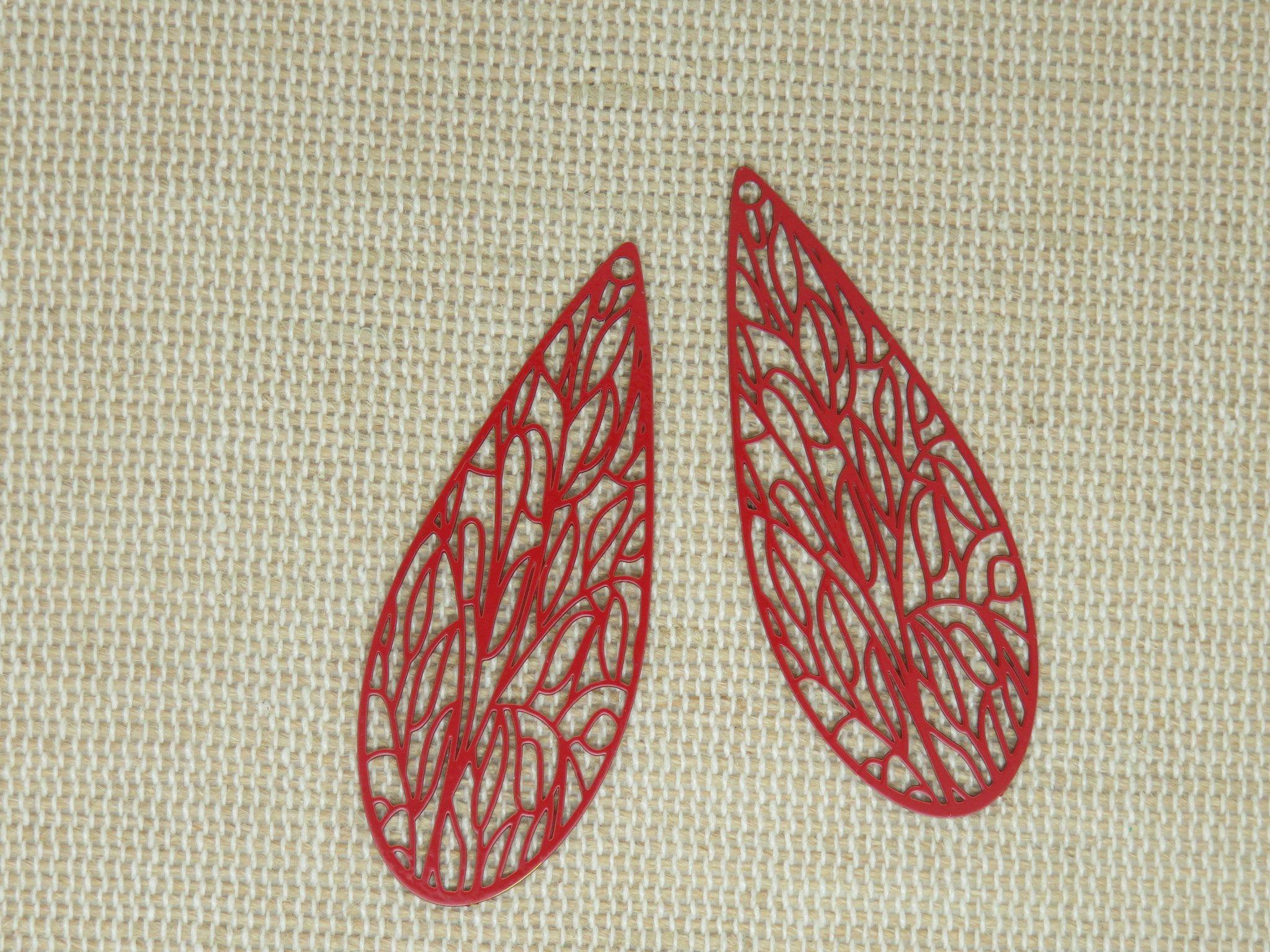 2 Pendentifs Aile Libellule Cuivre Rouge 45mm Ensemble De 2 Breloques Estampe Filigrane Pour Fabrication Bijoux In 2020 Etsy Cardboard Art Etsy Seller