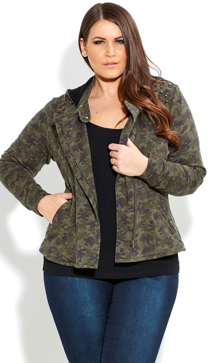 City Chic - COOL CAMO JACKET - Women's plus size fashion | Chic ...