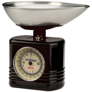 A vintage-style kitchen scale.