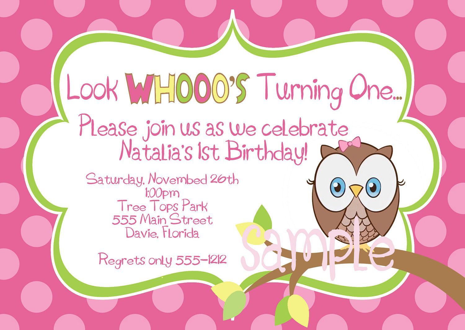 Hoot Owl Birthday Party Invitation in Hot Pink Lime Yellow