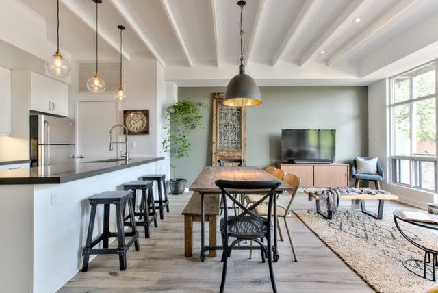 We Love The Moss Green Feature Wall In This Modern Rustic Toronto Condo A Modern Take On Rustic This Open Concept Modern Rustic Contemporary Kitchen Condo