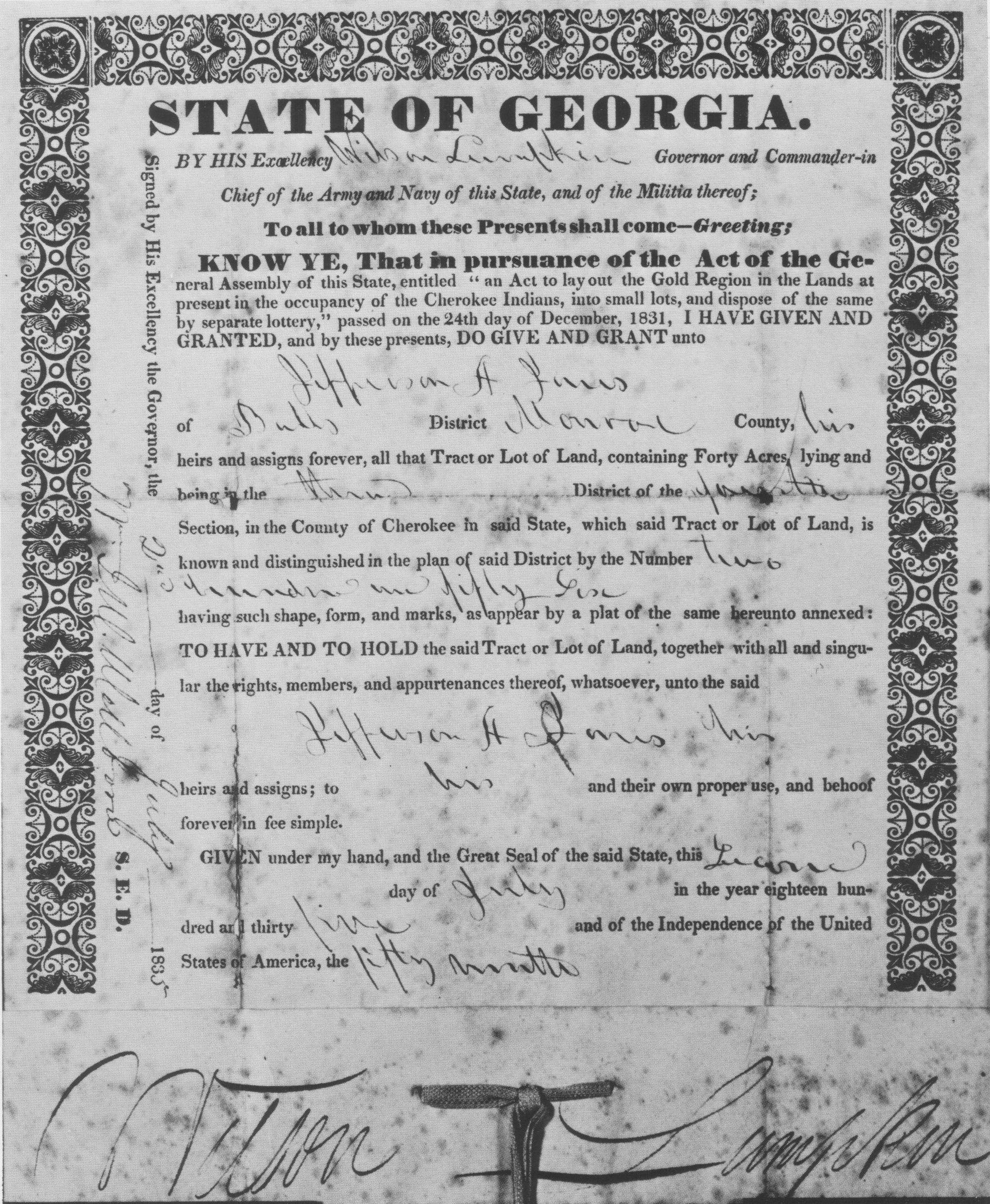 The Cherokee Land Lottery Cherokee History Cherokee Tribe Georgia