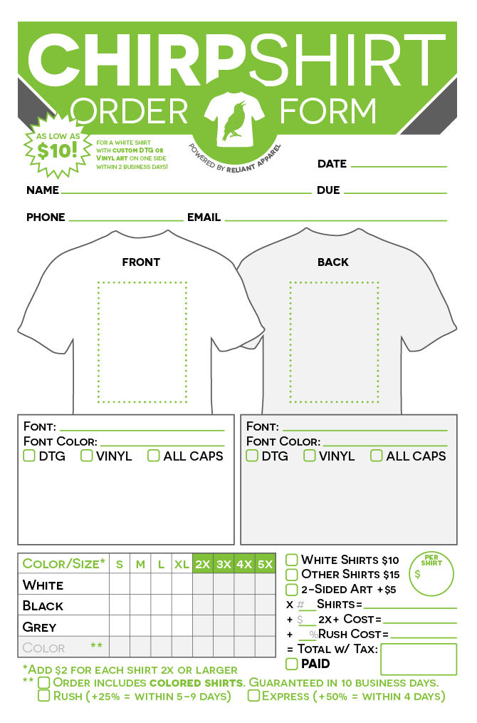 Order Form Design Chirpshirt Screen Printing Designs Custom Screen Printing Screen Printing