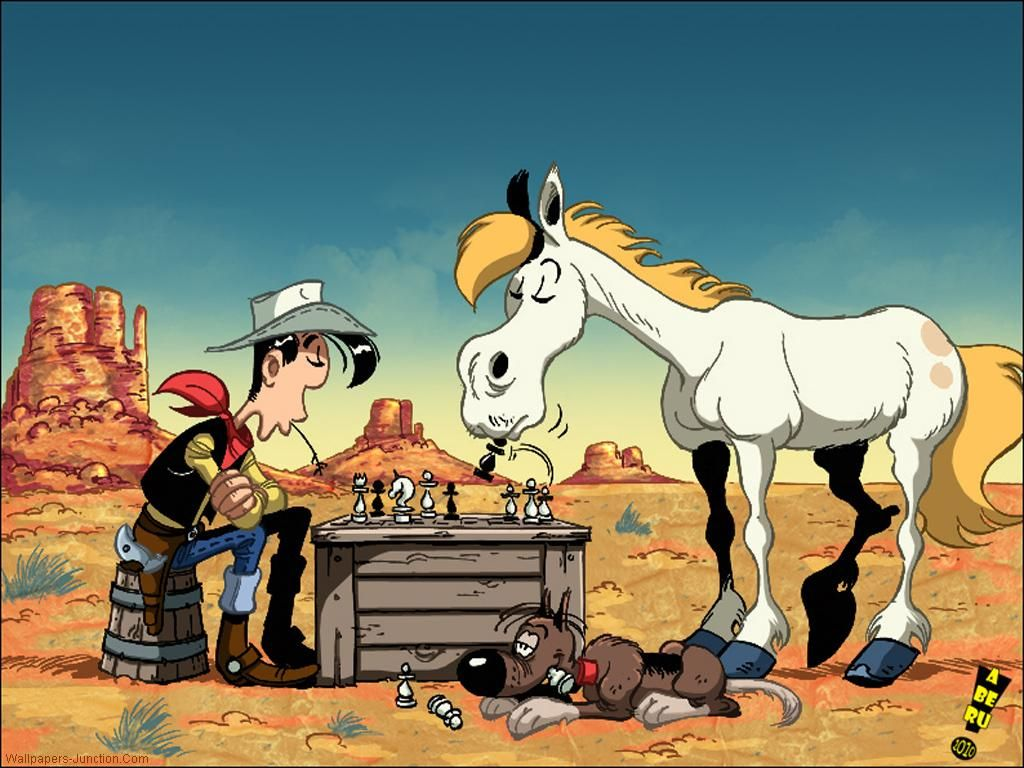 Lucky Luke and his clever horse Jolly Jumper